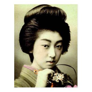 Vintage Beautiful Japanese Geisha Posing Old Japan Postcard