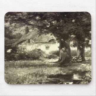Vintage - Beautiful Landscape - Cottage & Stream Mouse Pads