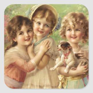 Vintage Beautiful Little Girls Square Sticker