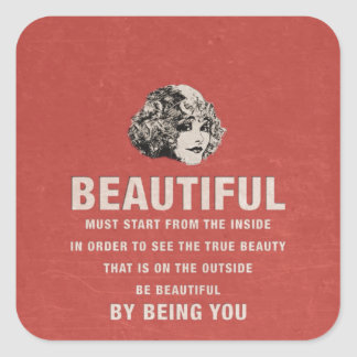 Vintage Beautiful Must Start Grunge Square Sticker