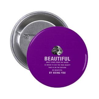 Vintage Beautiful Must Start Purple Pinback Button
