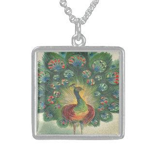 Vintage, Beautiful Peacok Square Pendant Necklace