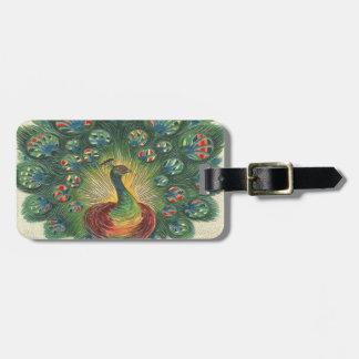Vintage, Beautiful Peacok Travel Bag Tag