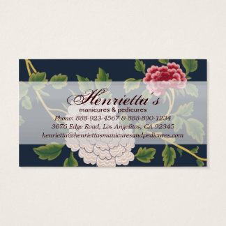 Vintage Beautiful Red & White Floral Business Card