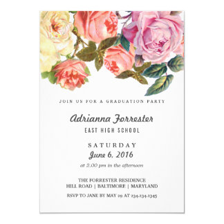 Vintage Beautiful Roses Graduation Party Card