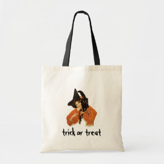 Vintage Beautiful Witch with Black Cat On Shoulder Budget Tote Bag