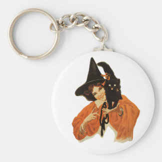 Vintage Beautiful Witch with Black Cat On Shoulder Keychain