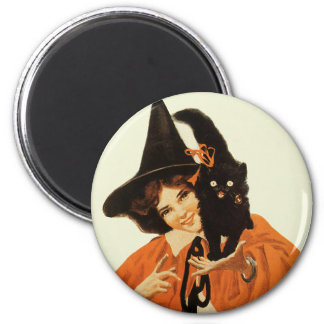 Vintage Beautiful Witch with Black Cat On Shoulder Magnet