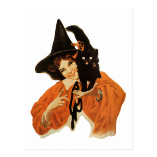 Vintage Beautiful Witch with Black Cat On Shoulder Postcard
