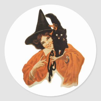 Vintage Beautiful Witch with Black Cat On Shoulder Stickers