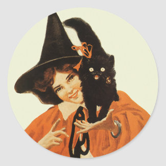 Vintage Beautiful Witch with Black Cat On Shoulder Round Sticker