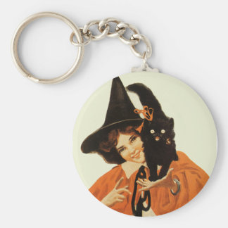 Vintage Beautiful Witch with Cute Black Cat Keychain