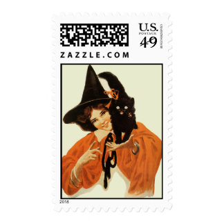 Vintage Beautiful Witch with Cute Black Cat Postage