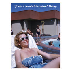 Vintage Beautiful Woman Sunbather in Blue Swimsuit Postcard