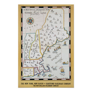 Vintage Beautifully Engrossed Sports Map Poster