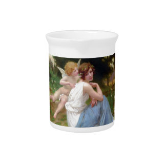 Vintage Beauty and Cupid Painting Drink Pitchers