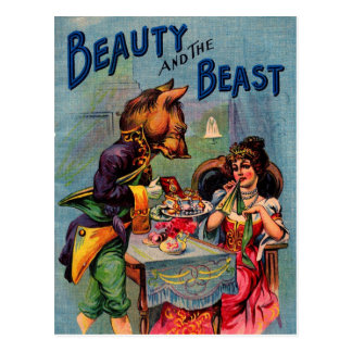 Vintage Beauty and the Beast Postcard