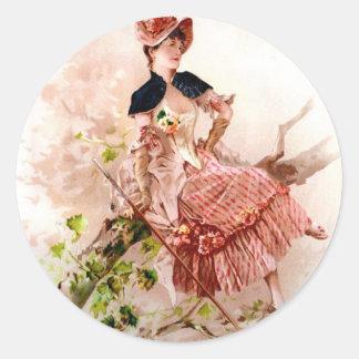 Vintage Beauty Classic Round Sticker
