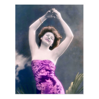 vintage beauty hands over head dancing post card