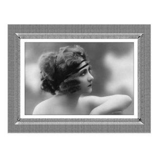Vintage Beauty - Impatient - in black & white Postcard