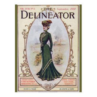 Vintage Beauty in Green Dress Postcard