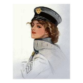 Vintage Beauty in Uniform Postcard