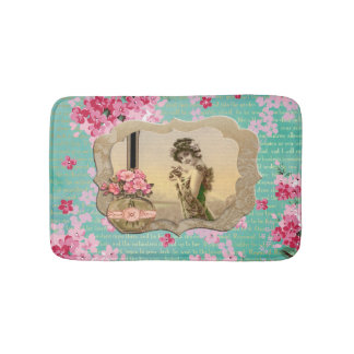 Vintage Beauty Mint Green & Pink Floral Bath Mat