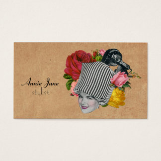 Vintage Beauty Shop Shabby Cream Roses Cosmetology Business Card