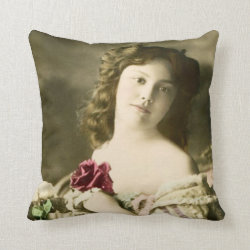 Vintage Beauty Throw Pillow