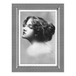Vintage Beauty - Uninterested - in black & white Postcard