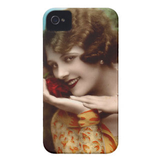 Vintage beauty with a rose looking coy iPhone 4 covers