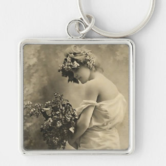 vintage Beauty with cut flowers Keychain