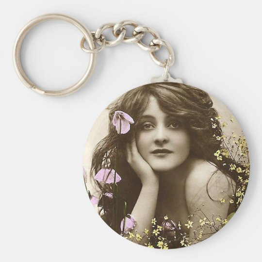 Vintage Beauty with Flowers Keychain