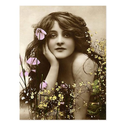 Vintage Beauty with Flowers Postcard