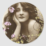 Vintage Beauty with Flowers Stickers