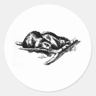 Vintage Beaver Classic Round Sticker