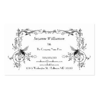 Vintage Bee and Bird Elegant Floral Scroll Custom Business Card