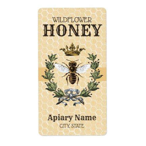 Vintage Bee and Crown Honey Jar 2 Label