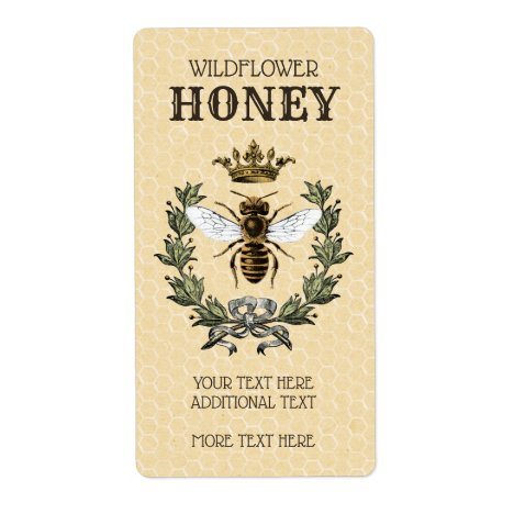 Vintage Bee and Crown Honey Jar Label
