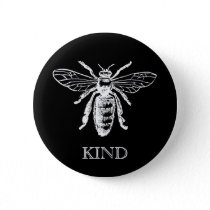 Vintage Bee Be Kind Black Button