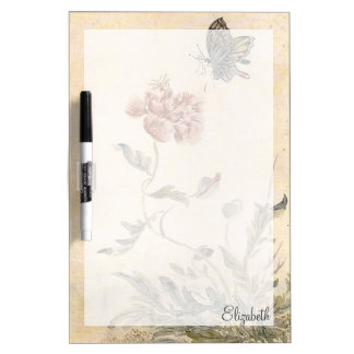 Vintage Bee, Butterfly and Poppy Watercolor Dry Erase Board