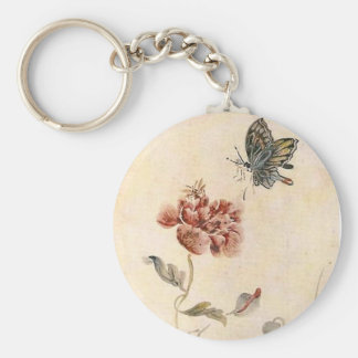 Vintage Bee, Butterfly and Poppy Watercolor Keychain