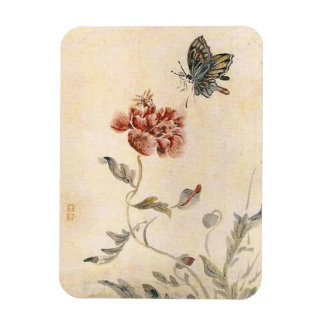 Vintage Bee, Butterfly and Poppy Watercolor Magnet