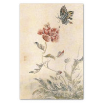 Vintage Bee, Butterfly and Poppy Watercolor Tissue Paper