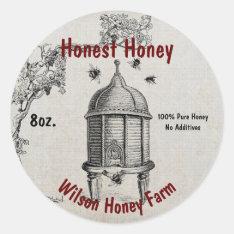 Vintage Bee Hive Honey Business Jar Label Sticker at Zazzle