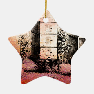 VINTAGE BEE HIVES CERAMIC ORNAMENT