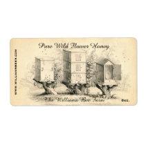 Vintage Bee Hives Honey Jar Label