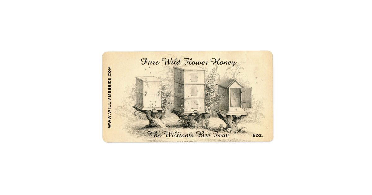 Vintage Bee Hives Honey Jar Label Zazzle Com Printable Cookie Labels Free