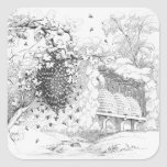 Vintage Bee Hives Square Sticker