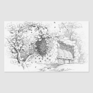 Vintage Bee Hives Rectangle Sticker